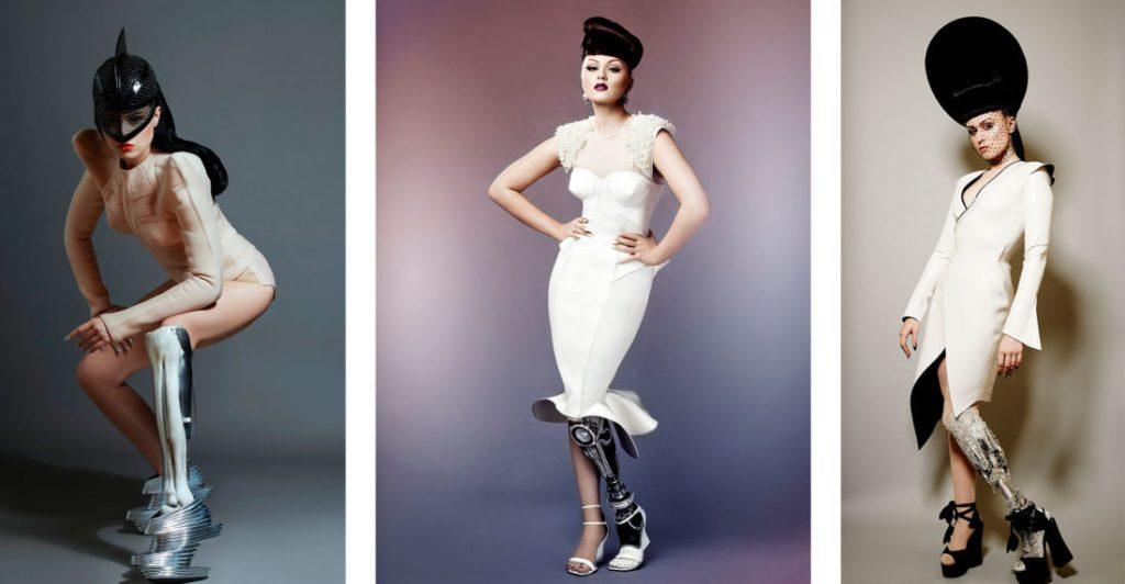 Viktoria Modesta - Modelo e cantora amputada com suas proteses estilizadas e futuristas